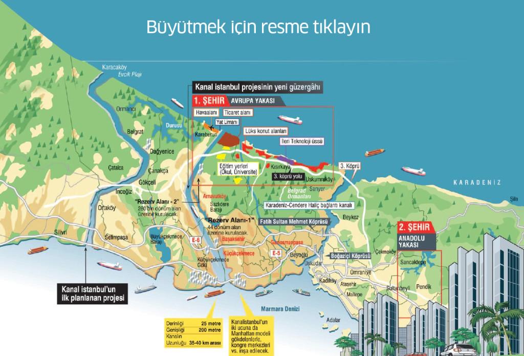 kanal-istanbul-güzergahı